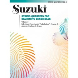 Libro. SUZUKI - STRING QUARTETS FOR BEGINNING ENSEMBLES VOLUME 2