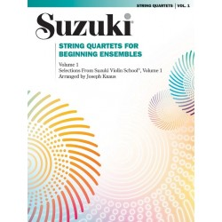 Libro. SUZUKI - STRING QUARTETS FOR BEGINNING ENSEMBLES VOLUME 1