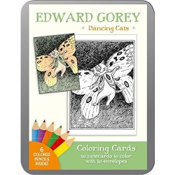 Tarjetas de colorear. EDWARD GOREY DANCING CATS. COLORING CARDS