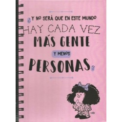 Cuaderno Anillado Mediano Mafalda. Más gente y menos personas - 80 Hojas Rayadas