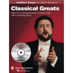 Partitura. Classical Greats - Audition Songs for Male Singers: Piano/Vocal/Guitar Arrangements with CD Backing Tracks