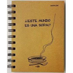 Cuaderno pequeño. A6 MAFALDA CLASICA MADERA TAPA DURA